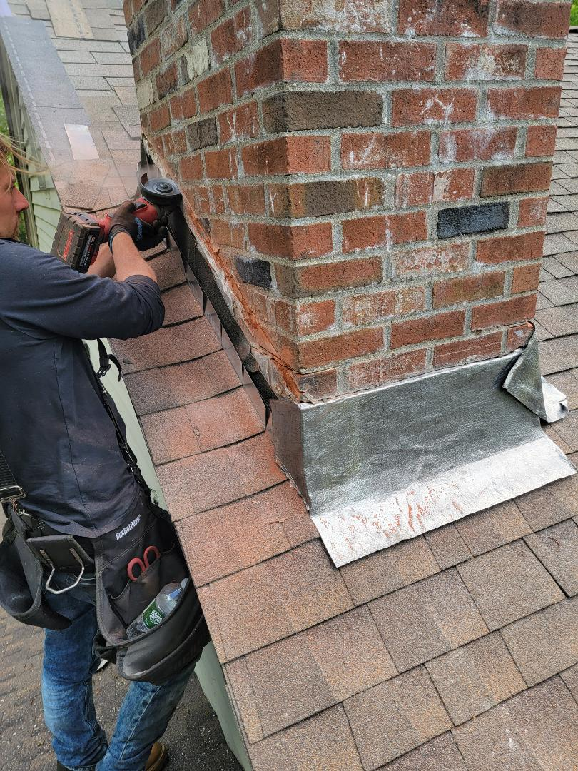 Durham, CT - New lead chimney flashing.  Call vnanfito roofing and siding today for a free estimate on any of your home remodeling needs