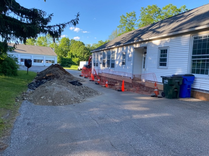 Southington, CT - Excavation work to put in a handicap ramp. We do it all.  Call vnanfito roofing and siding today for a free estimate on any of your home remodeling needs