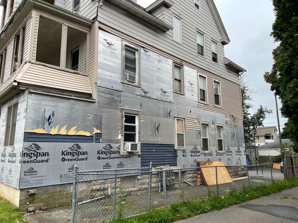 New Britain, CT - Tearing off old siding and prepping with insulation for new exterior