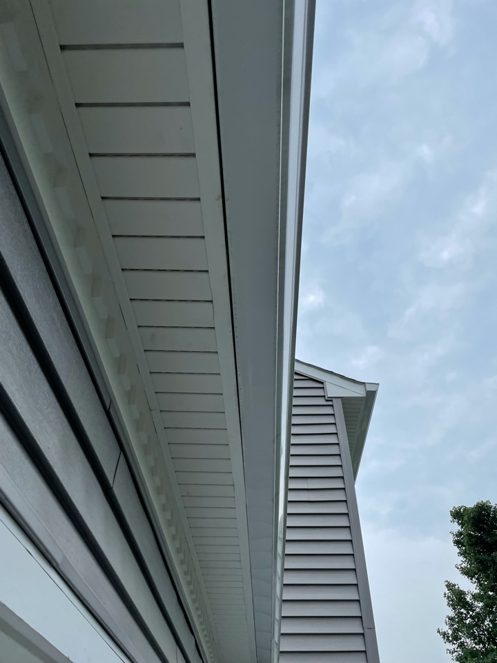 Arnold, MD - Restoring proper ventilation by removing solid soffit board.  We will be removing and reinstalling the gutters and soffits, replacing fascia and installing insulation baffles in the soffit/attic.