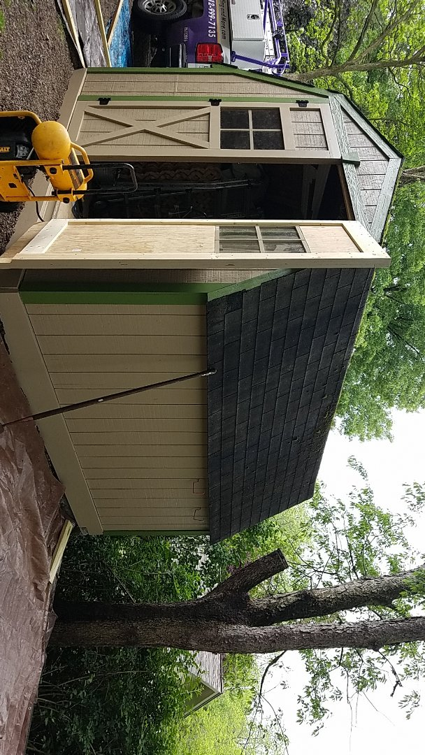 Pittsburgh, PA - Reroofing a shed.