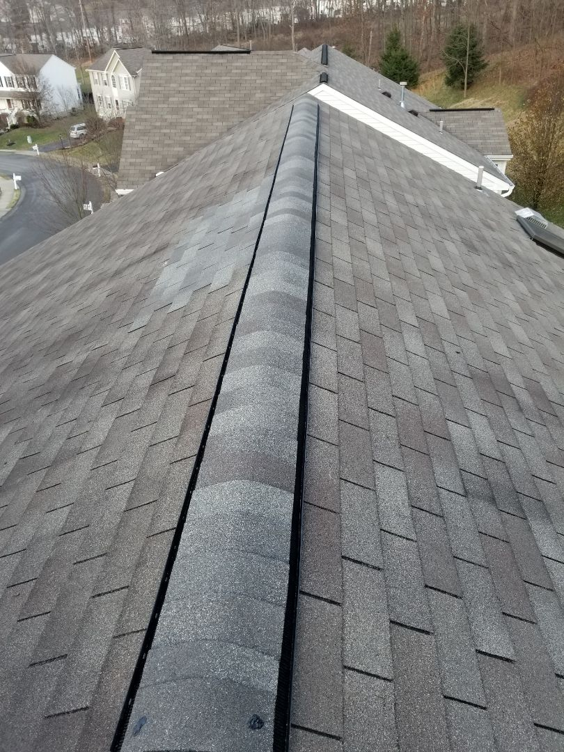 Mars, PA - Changed metal ridge vent to more modern ridge vent and fixed bad decking and shingles
