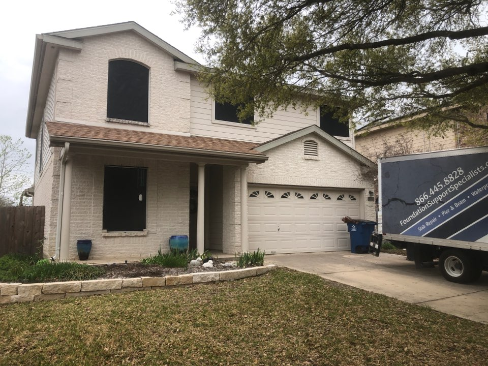 Cibolo, TX - Today we are starting a foundation repair project with a 14 steel pier installation. The   left side of our customers house was showing signs of foundation settlement, but our piers will stabilize her house! Thanks for choosing FSS!