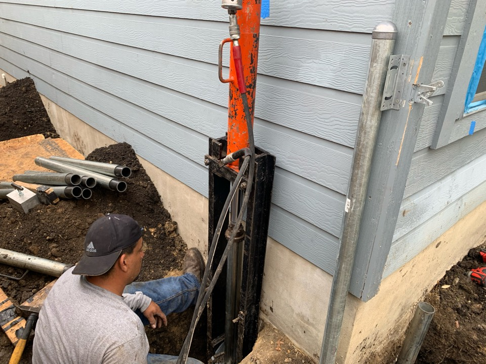 Cibolo, TX - Fellow employee starting installment of one of are hot dipped steel piers will keep you updated as we progress to getting the job done... stay tuned for further updates.
