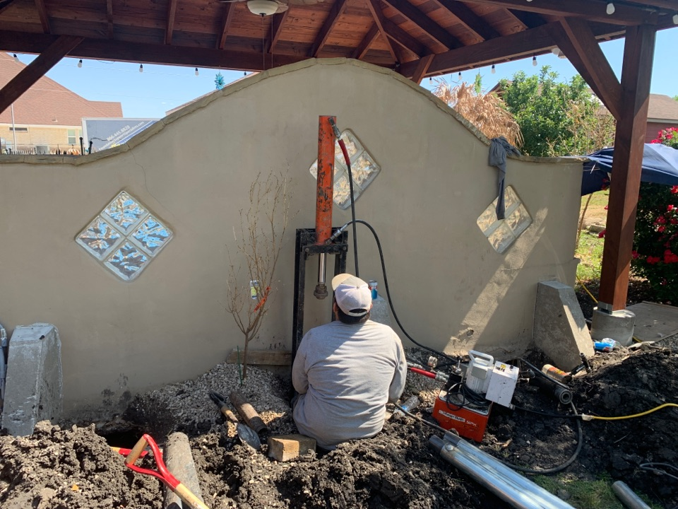Completed a quick foundation repair project for a customer in Seguin, TX today. We instslled 3 steel piers to support a concrete slab with a pergola attached to it. It was experiencing significant settlement. We lifted it 3 inches and it will not be shifting anymore.