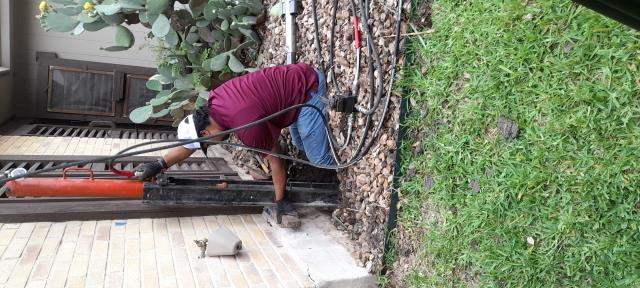 San Antonio, TX - The pier installations continue for this foundation repair project at Mr. Lawrence's house. One of our supervisors helped push these steel piers until they hit bedrock. We should be wrapping up here this week and will stabilize this house for good!