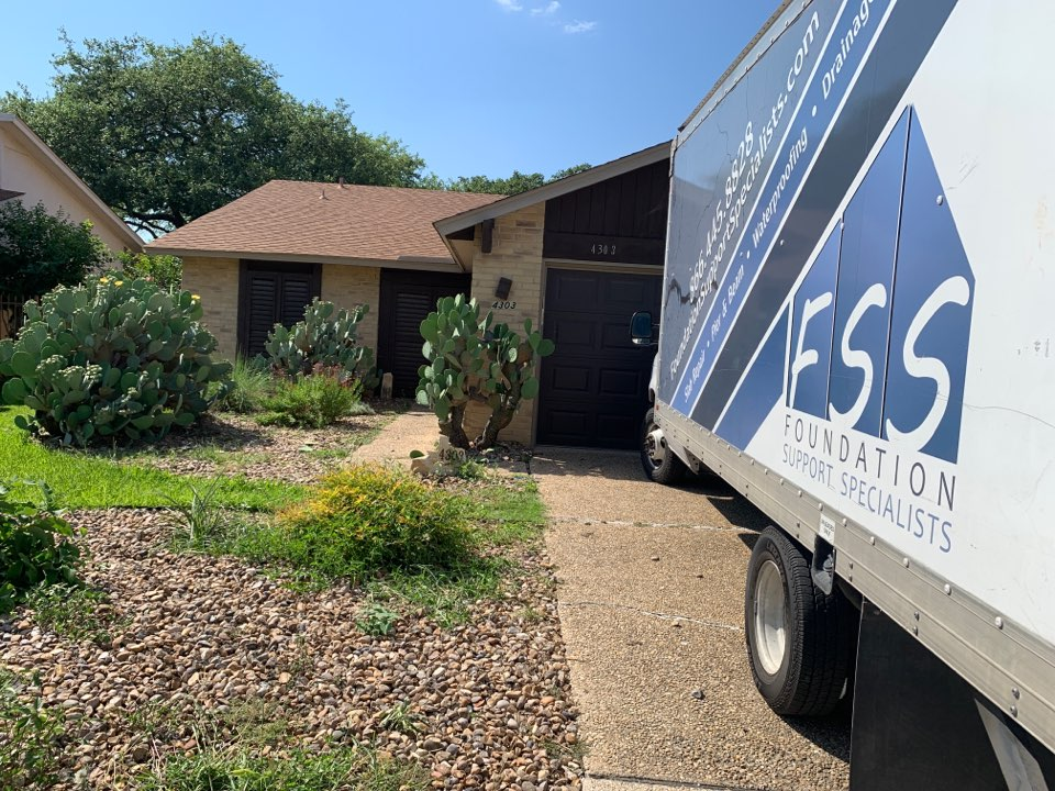 San Antonio, TX - Finished our foundation repair project today! We were able to stabilize the foundation and lift the house one inch. We worked around landscaping, gas lines, and rainy weather. As soon as we put the deck back together, this house will be foundation damage free!