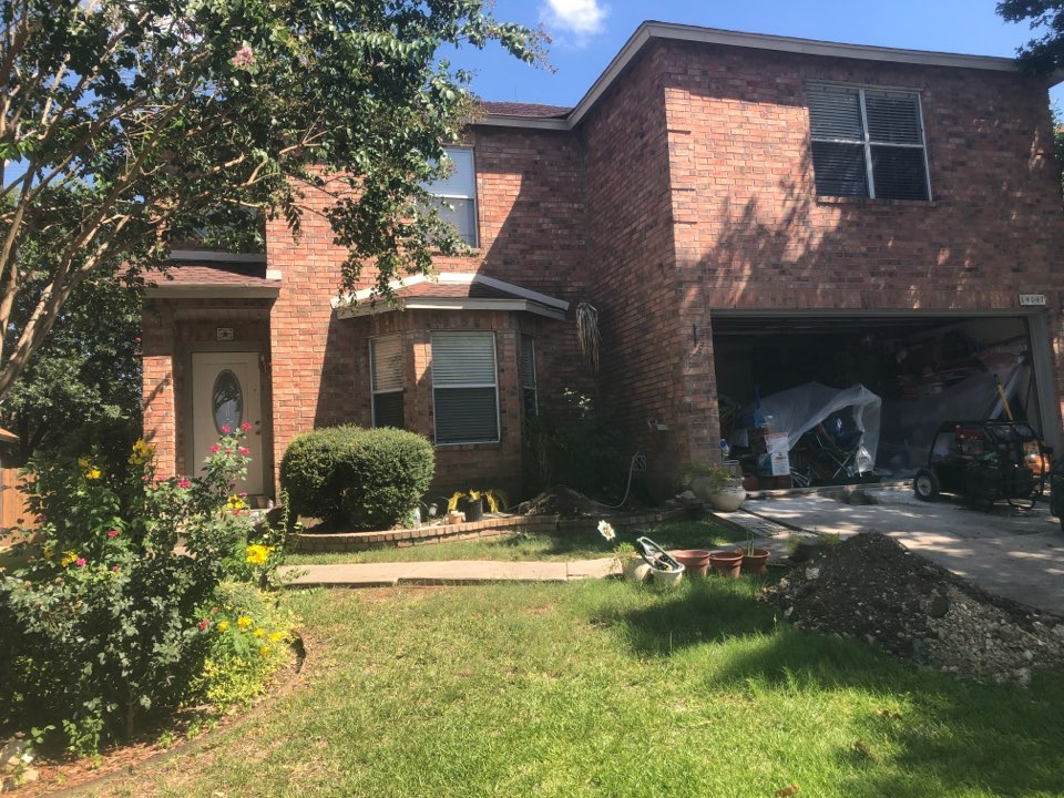 San Antonio, TX - Starting a new foundation repair project today for the Scanlon family. The right half of their house was showing signs of settlement with cracked walls. We'll be intalling 22 steel piers along her garage and going along back of her house. A few of the piers will be installed inisde the house.