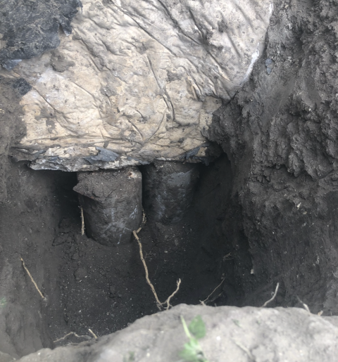 San Antonio, TX - Our customer was noticing cracks around her house and it appears the previous foundation repair is not working out. Those concentric piers are low in price, but only last a few years at best. We'll remove these and install 10 steel piers that will last a lifetime.