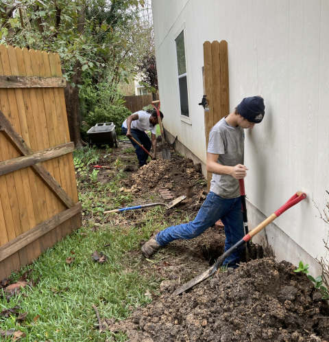 Digging holes to begin a 9 steel pier installation for this foundation repair project. Our customer was noticing cracks in the walls and some of his doors weren't closing properly, but stabilizing the home's foundation will correct this issue.