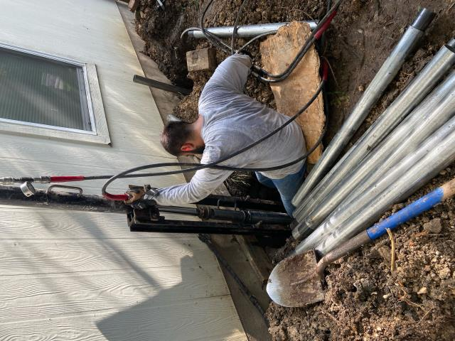 Austin, TX - Our steel pier installations for this foundation repair project is running smoothly. As soon as all 9 piers are installed we'll be able to stabilize and lift the foundation to prevent future settlement.