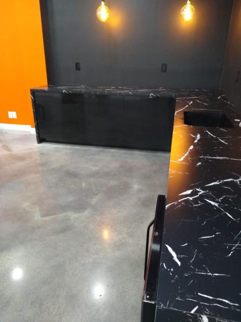 Laminate counter top with waterfall legs and Karran undermount sink. (fabrication and installation)