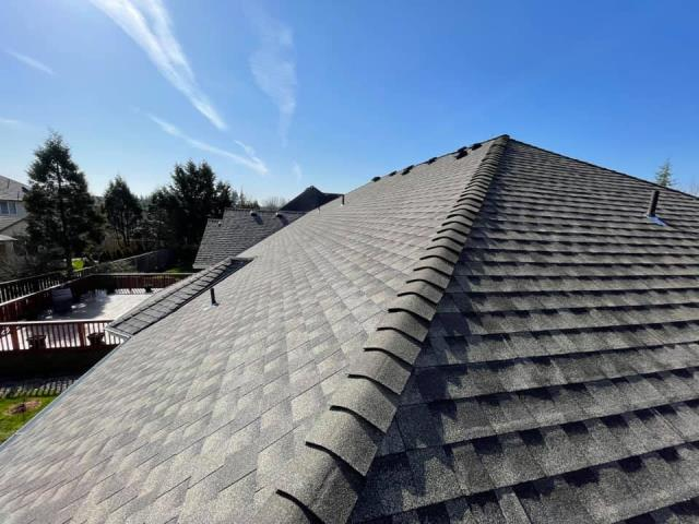 Portland, OR - Residential roof replacement with GAF Timberline HDZ shingles in Weathered Wood.