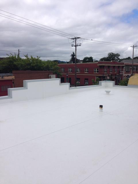 Portland, OR - Our low slope roofing department just installed this roof by IB Roof Systems.  We also did some custom sheet metal on the stepped parapet wall.