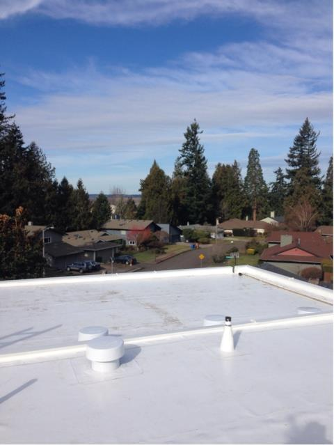 Portland, OR - Our low slope department just finished another beautiful roof in NE Portland. IB Roof Systems 60 MIL PVC Roof Membrane (White).