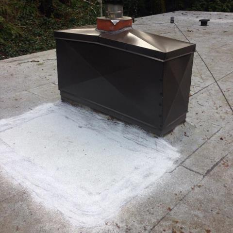 Portland, OR - Custom sheet metal work. Full custom chimney wrap and chimney cap
