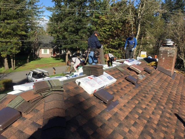 Portland, OR - Installing GAF Timberline Asphalt shingle in Hickory. What a beautiful color!