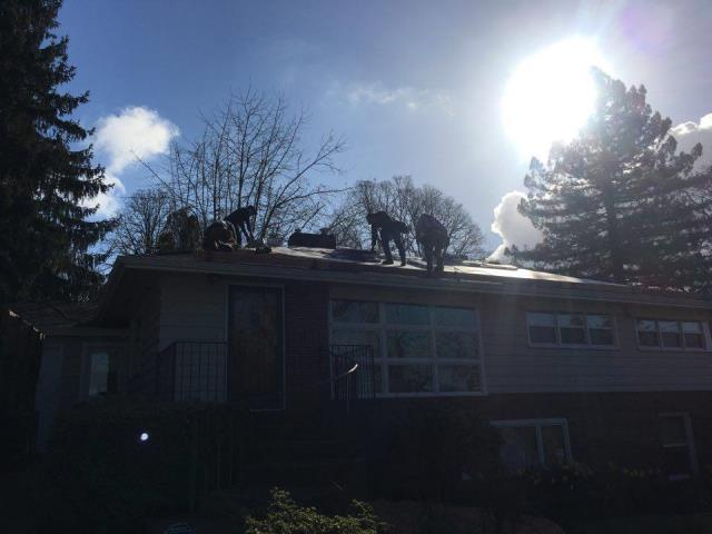 Portland, OR - Our residential roofing crew is enjoying installing GAF Timberline shingles on this home in SW Portland. It's a beautiful sunny day - spring has finally arrived!