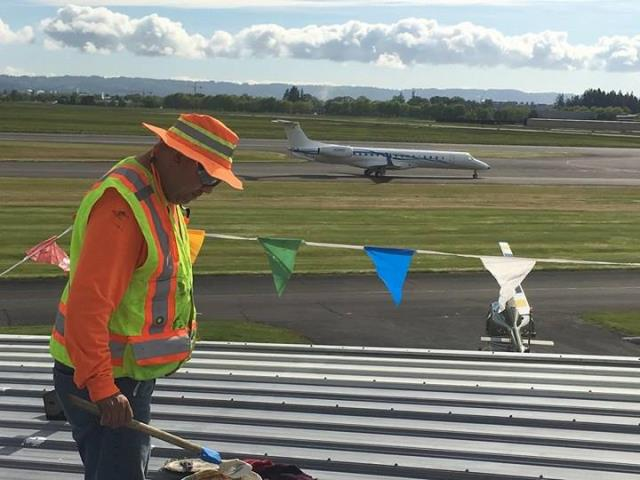 Hillsboro, OR - Metal roof restoration at the Hillsboro Airport