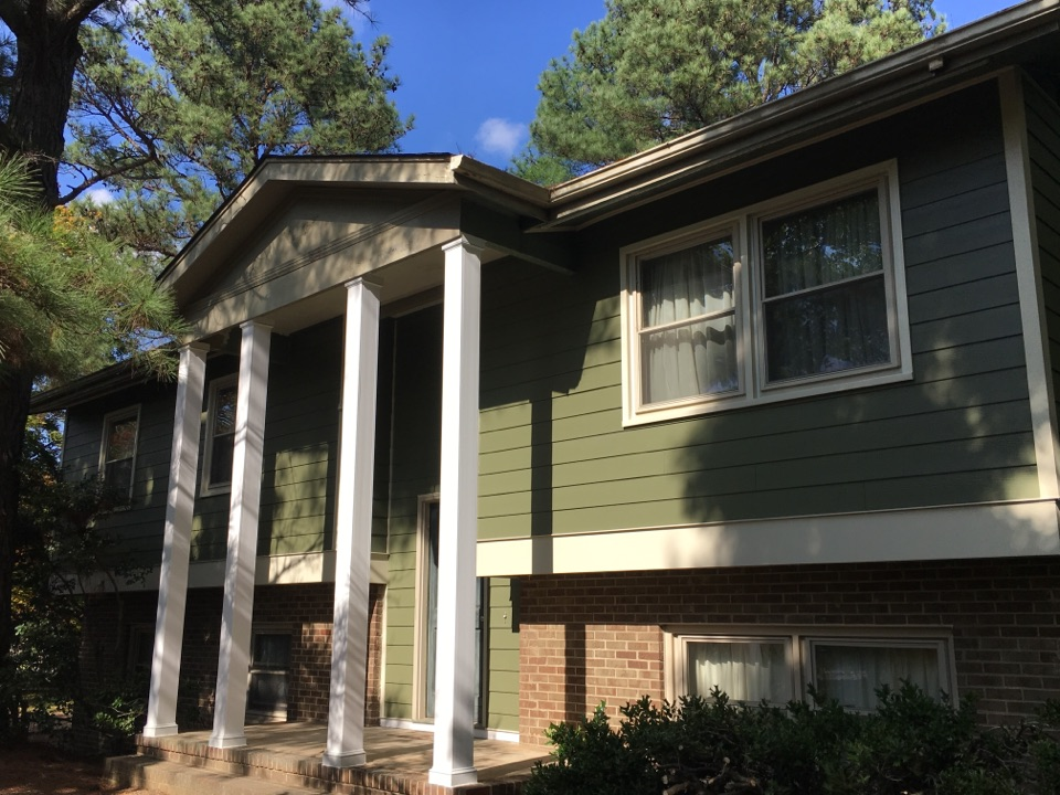 Midlothian, VA - Rebuilt the columns in PVC. Waiting on the painter to match them up to the new James Hardie NT3 trim.