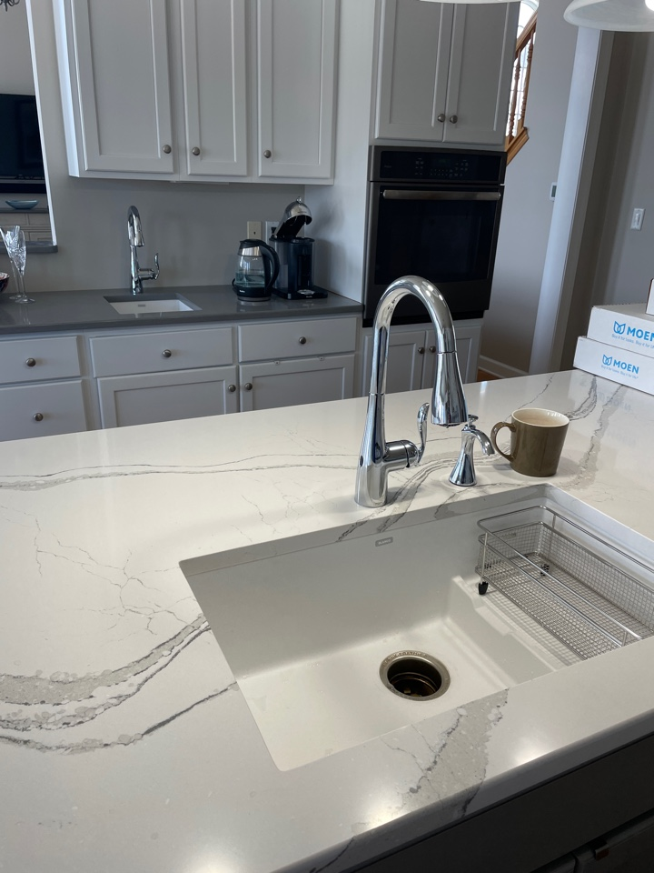 Just installed two Moen kitchen faucets after our customer had her lovely countertops installed!