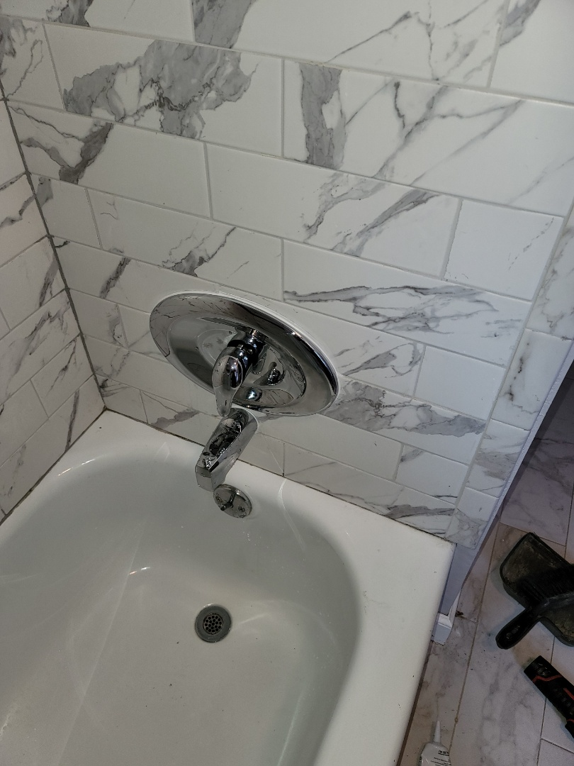 Bethlehem, PA - Replaced 3 handle tub shower faucet with moen single handle tub shower faucet with remodeling plate