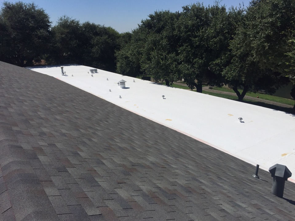 San Antonio, TX - At this church we went over the existing modified bitumen roof that was old and hail damaged with 69 miL TPO. TPO can handle ponding water and has a longer product warranty (20 years vs. 12-15). We also put GAF Royal Sovereign in Slate on the pitched portion of the roof.