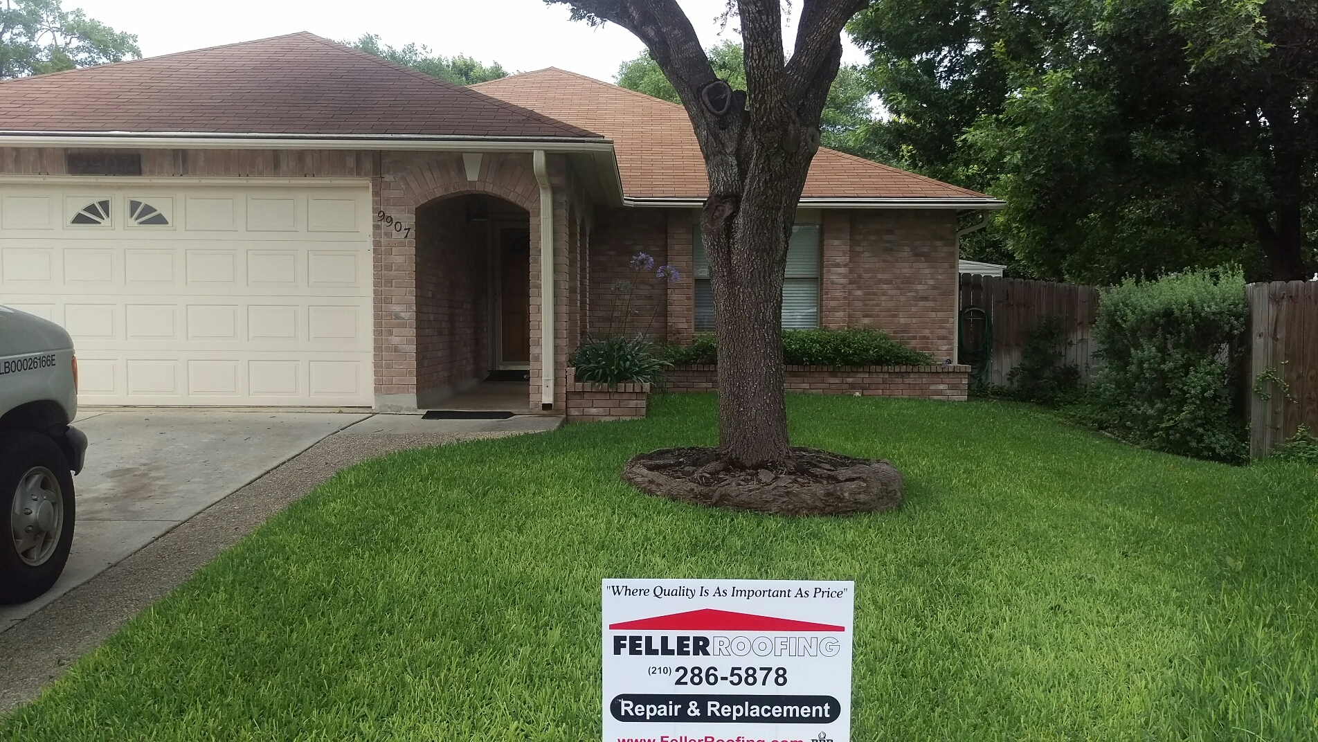 San Antonio, TX - Roof replacement in San Antonio with GAF Royal Sovereign shingles, Golden Cedar. Also replacing the gutters as part of the insurance claim.