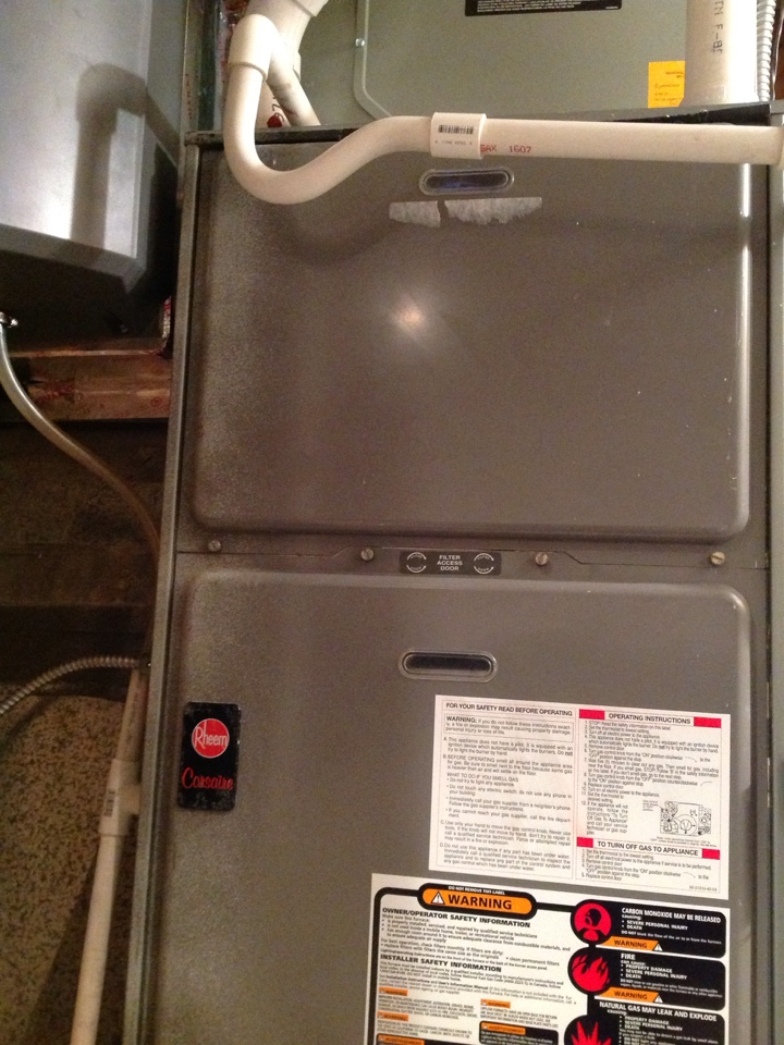 Peyton, CO - Furnace service on a 90% Rheem and installing fan motor for a Honeywell humidifier