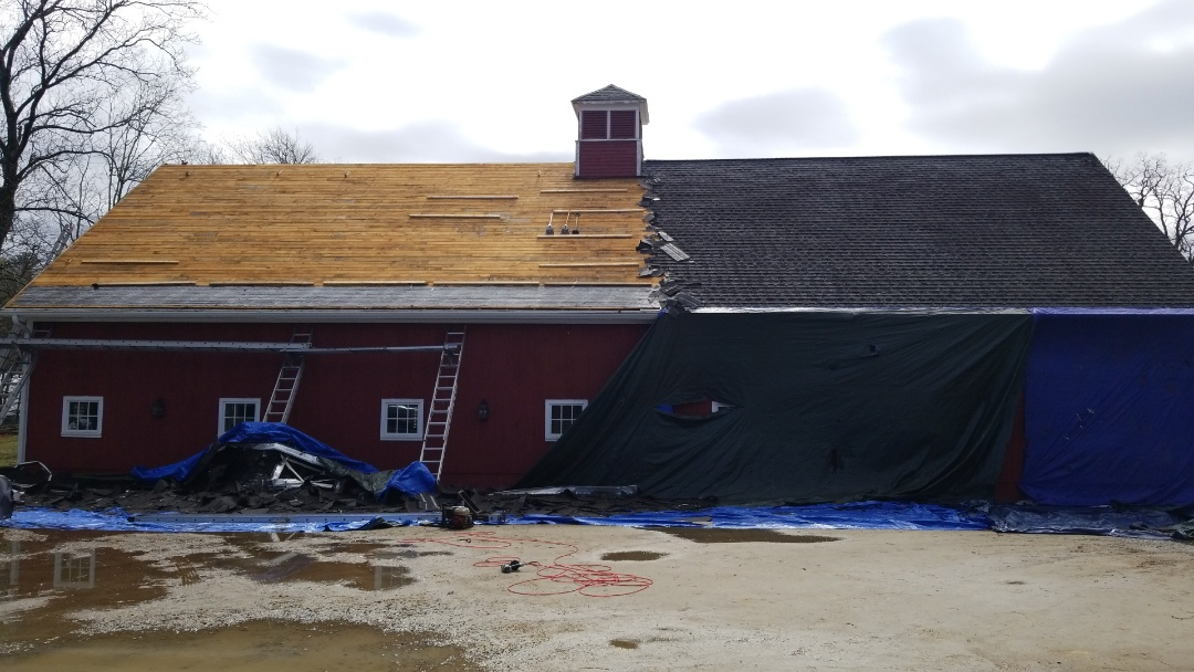 Kidd-luukko at it again. Installing another GAF roofing system on a beautiful horse barn.
