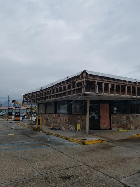 Panama City, FL - Restructured and new commercial roof TPO (Versico) installed for gas station damaged by Hurricane Michael.