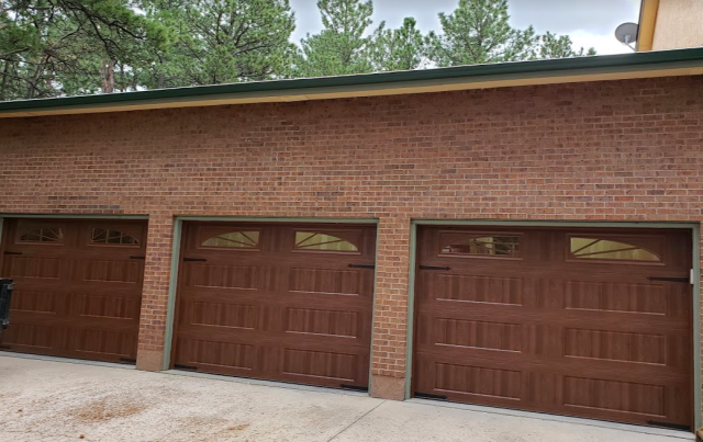 """Colorado Springs, CO - Amarr's Designers Choice 3200 series Garage Door with added 50"""" of High Lift.  Accompanied by LiftMaster's 8500W Elite Series wall mounted openers."""
