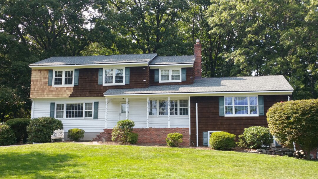 Mahwah, NJ - Another large roof completed in one day!  Total roof upgrade to GAF's Timberline HD Slate Shingles. Great work team!