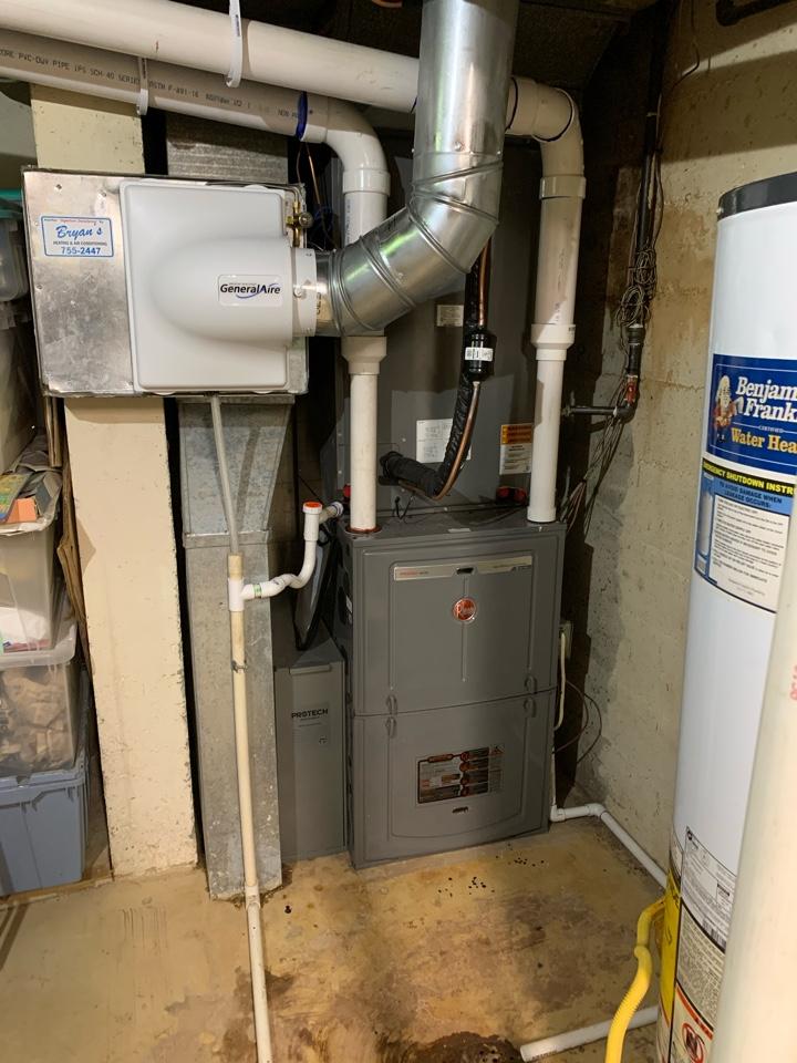 Wichita, KS - Install new 96% 2 stage Rheem furnace with matching 2 stage 17 SEER ac.