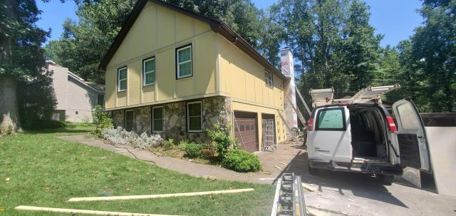 Marietta, GA - Beginning the Exterior Painting after a Siding Replacement with James Hardie products.