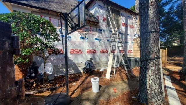 Roswell, GA - Working in Roswell on a home getting new James Hardie Siding and James Hardie Soffits and Fascia installed.  We will also be painting the exterior, installing a new window and doors, and new gutters and gutter covers.  Excited to see the finished look.