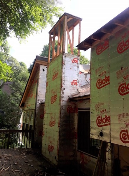 Marietta, GA - Checking on a current Siding installation project. We have discovered rotted areas under the top of the chimney.  Our crew will install new OSB boards before installing the housewrap and new James Hardie Siding.