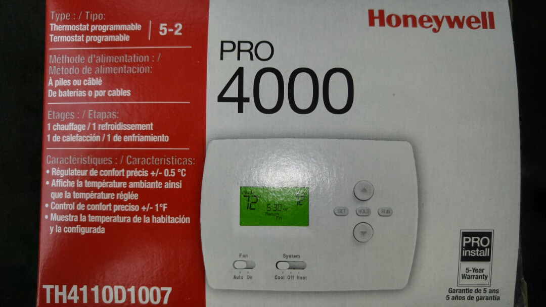 Niagara Falls, ON - Service call. Install Honeywell thermostat