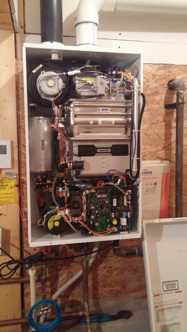 Niagara Falls, ON - Navien tankless water heater maintenance and inspection.