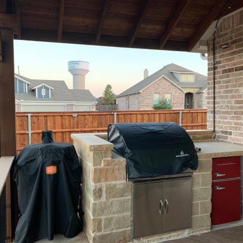 Wylie, TX - Install cedar fence, install patio cover, install composite trex deck, install outdoor kitchen