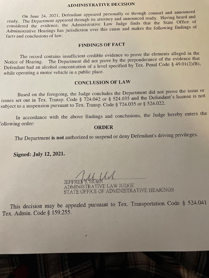 San Antonio, TX - Working from home today and received notice that we WON an Administrative License Hearing. These are tough to win and now my client gets to keep her drivers license after she was wrongly arrested for dwi. Let's go!