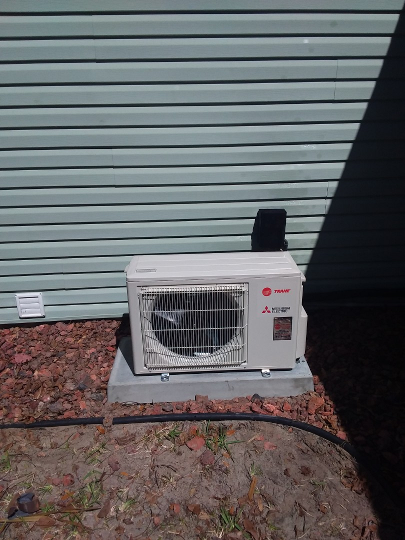 A freshly installed 1.5 ton Mitsubishi mini split HVAC unit. Isn't it pretty? Give us Accu-Temp a call for all of your heating & air conditioning needs in Flagler Beach, Florida area.