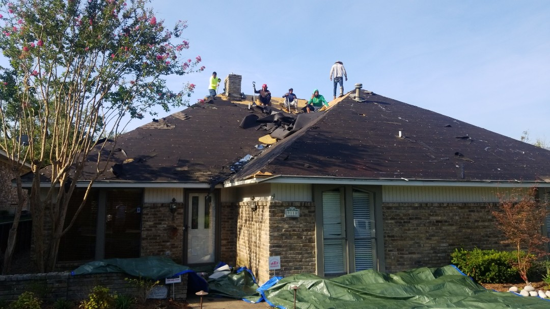 Dallas, TX - Hail damage roof repair strip to plywood