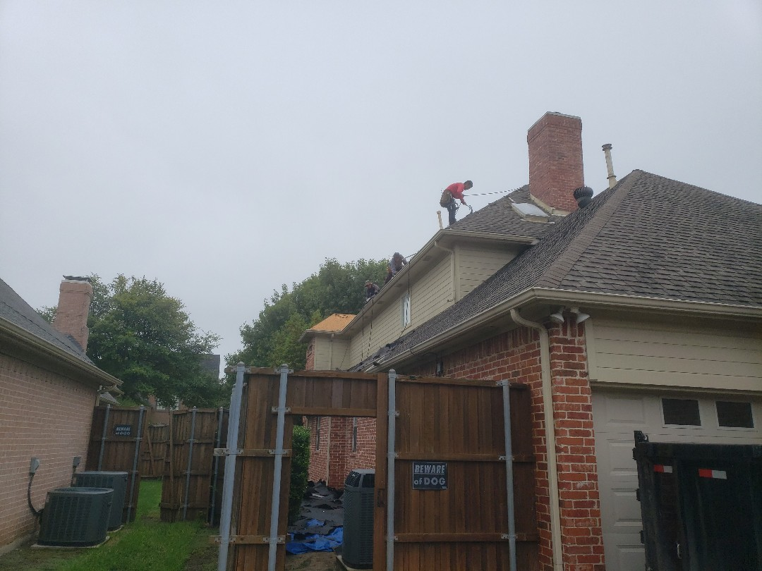 Plano, TX - Tearing off this roof and installing GAF Grand Sequioia Armorshield in Dusky Grey.