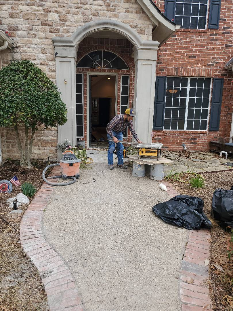 Garland, TX - Flooring Firewheel Estates flood. Pipe busted in the house, we're doing a full downstairs remodel, including flooring replacement, walls, stairs, pergola, cabinets, backsplash, etc.