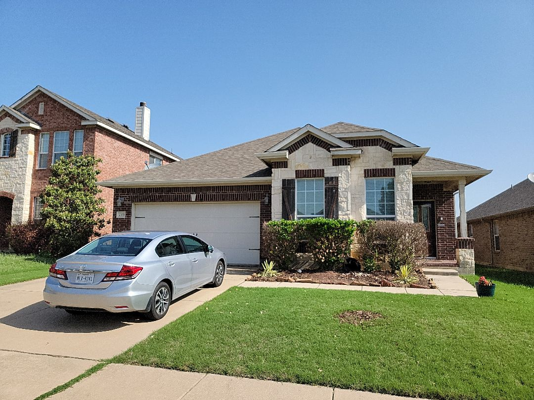Fort Worth, TX - Verifying hail damage to this roof before the insurance claim is filed.