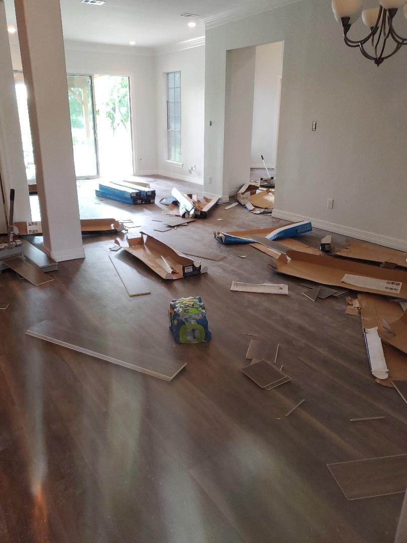 Garland, TX - Installing floors today