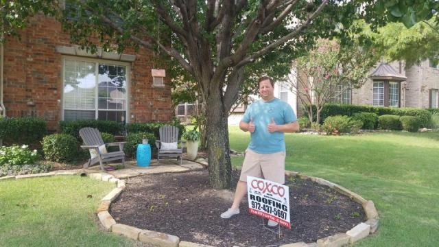Coppell, TX - The Meister family is about to get a brand new roof from Coxco! He gives us two thumbs up! :)