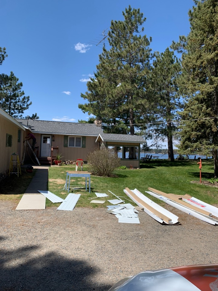 Crosslake, MN - Upgrading this cabin with 6 inch gutters and Valor gutter protection call Advantage Seamless Gutters your Crosslake Gutter experts Best Gutters ever