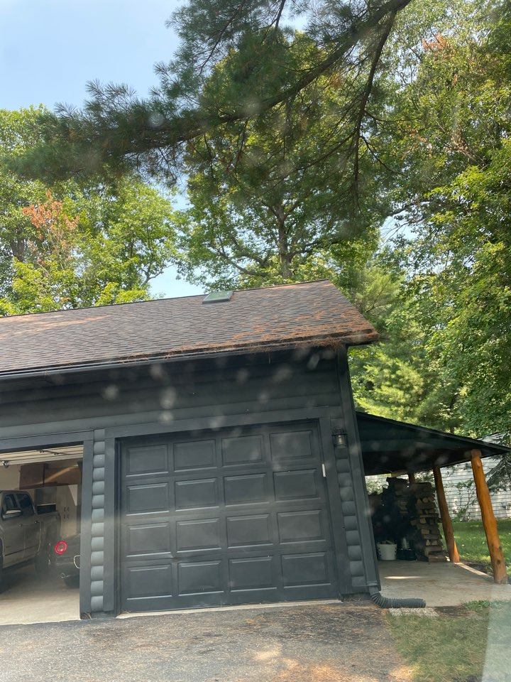 Crosslake, MN - Adding 6 inch gutters to protect us home from water damage that cost him thousands of dollars because of undersize Gutters protect your home with the proper gutters and downspouts to fit your home call Advantage Seamless cutters Beth Gutters in Crosslake in Lakes country